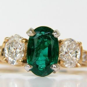 3.20ct NATURAL EMERALD DIAMOND RING CLASSIC 3 14KT
